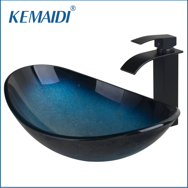 Kemaidi Art Design Bathroom Modern Oval Artistic Glass Vessel Sink W