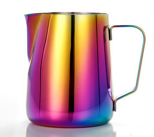 Stainless Steel Coffee Pitcher Milk Cup Garland Cup Fancy Coffee Cylinder Cappuccino Cafe (300ml) thickening 304 stainless steel measuring cup 1000ml milk tea cup coffee liquid measuring cup with graduated never rust h 130mm