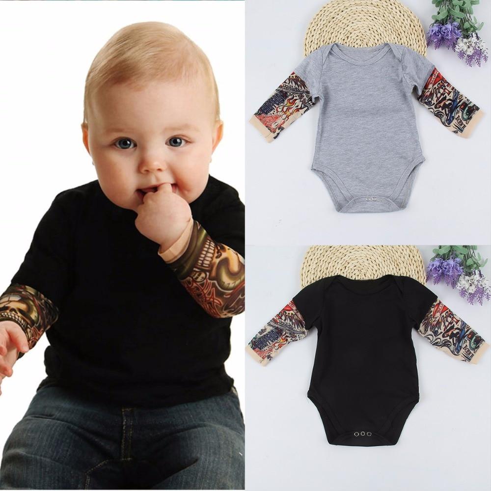 puseky Infant Baby Boys Girls Tattoo Print Long Sleeve Romper Jumpsuit Bodysuit