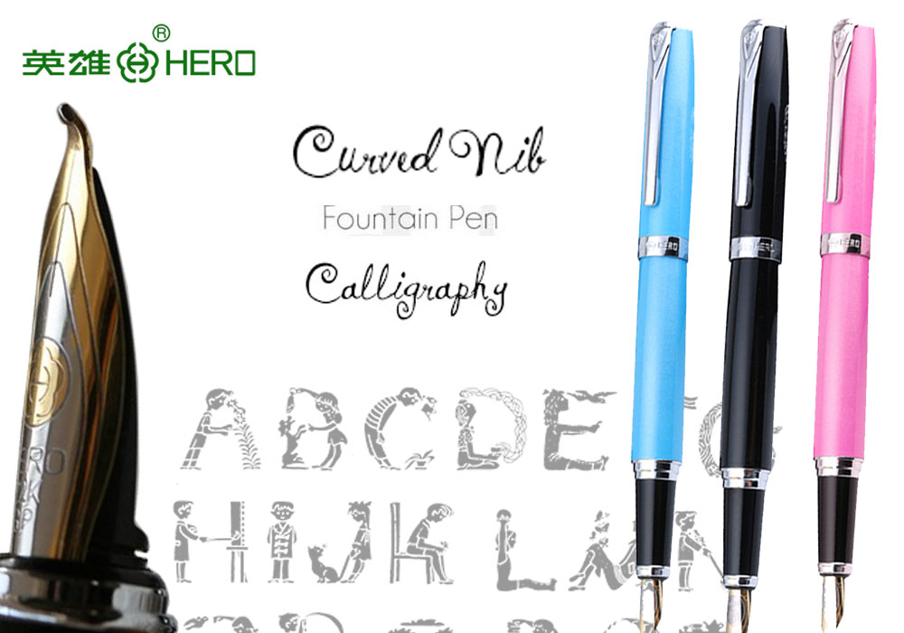 Calligraphy Fountain Pen Curved Nib HERO 382  office and school Top-rated art pens FREE  SHIPPING great calligraphy helper pilot parallel pen plate nib 2 ink cartridge 1 5 2 4 3 8 6 0mm flat tip fountain pen art set