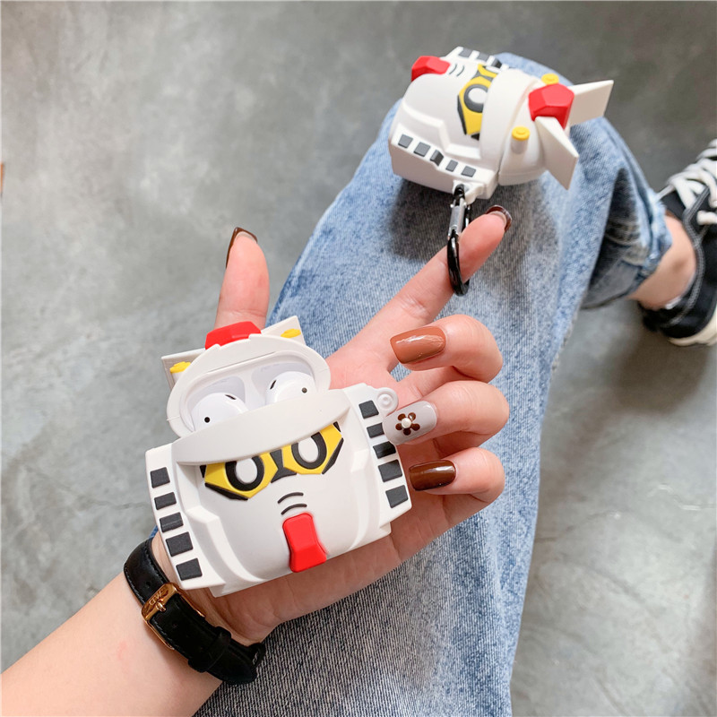 Image 3 - 3D Cute Cartoon GUNDAM Mobile Suit Headphone Cases For Apple Bluetooth Headset Airpods 1 2 Silicone Protective Sleeve Skin Cover-in Earphone Accessories from Consumer Electronics