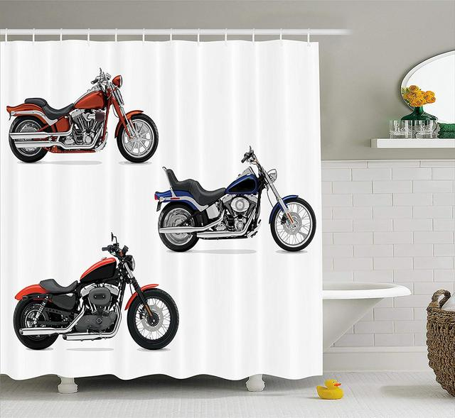 Motorcycle Shower CurtainIllustration Of Three Motorcycles Freedom Transport Risky Extreme Sports Themed Bathroom Accessories