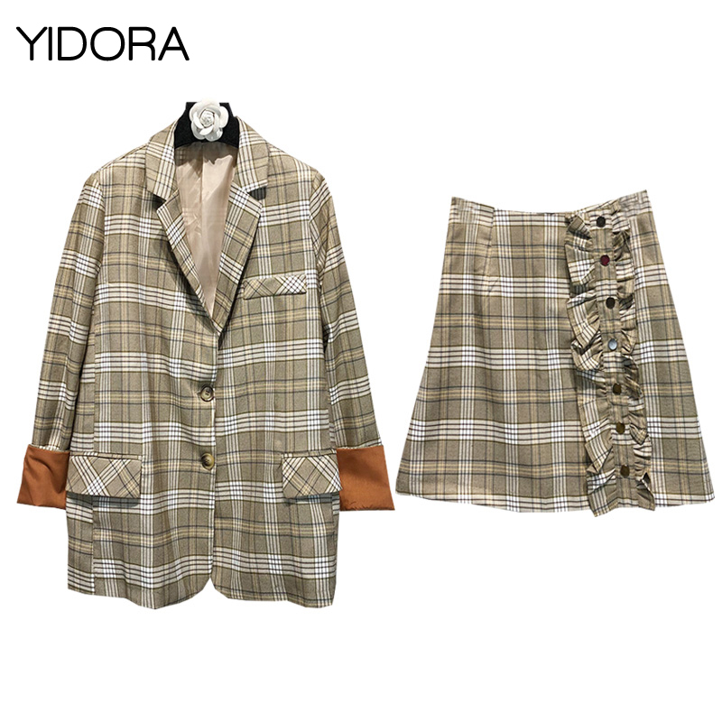 New Women Check Blazer With Contrast Roll Up Sleeve Cuff + Plaid Skirt With Ruffle Placket Button Closure - 2 Piece Skirt Suits Lovely Luster