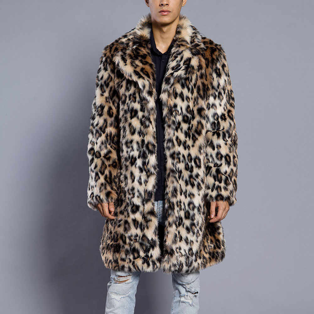 Mens Leopard Plus Thickening Long Coat Warm Thick Fur Collar Coat Jacket Faux Fur Parka Cardigan male fashion gentleman Style