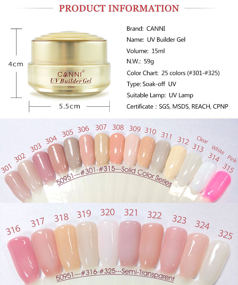 CANNI Builder Gel 15ml White Transparent Clear Pink 25 Color 50951 High Quality Camouflage Jelly Color Gel Nail Extending UV Gel