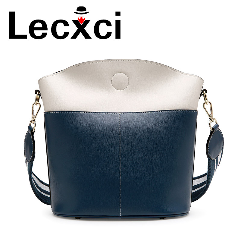 Lecxci new ladies bucket shoulder bag large-capacity leather handbags simple hit color diagonal trend crossbody bag for womenLecxci new ladies bucket shoulder bag large-capacity leather handbags simple hit color diagonal trend crossbody bag for women
