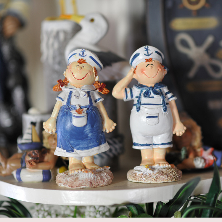 Mediterranean Style Dolls Sailor Boy Girl Figure Ornaments Crafts Home Decoration Accessories Wholesale MA12024A/BMediterranean Style Dolls Sailor Boy Girl Figure Ornaments Crafts Home Decoration Accessories Wholesale MA12024A/B