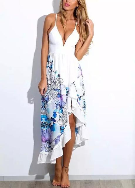 2017 spring summer new European style blue/white deep V-neck sleeveless sexy floral print ruffles long women blue beach dress