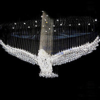 Modern Eagles Design Luxury LED Crystal Chandelier Lighting Lustre Hall Pendant Lights Cristal Lamp L100 W55