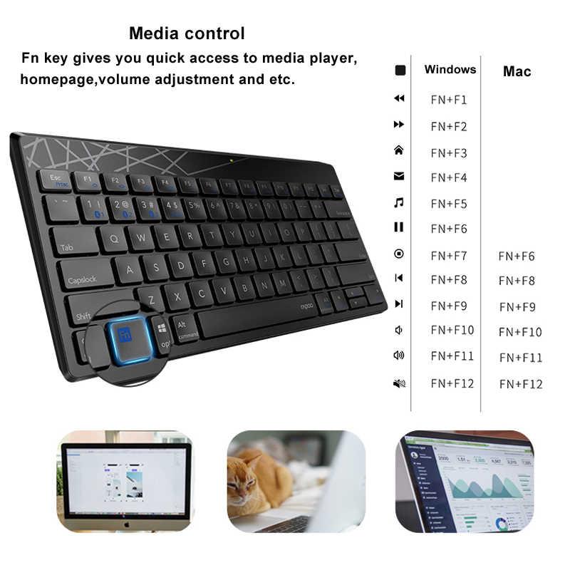 Rapoo multi-mode silencieux sans fil clavier souris Combo commutateur entre Bluetooth et 2.4G connecter 3 appareils pour ordinateur/téléphone/Mac