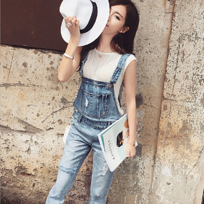 Fashion Girls' Autumn New Deckle Edge Denim Suspender Trousers Long Pants England Style Sweet Pocket Washed Torn Jeans Jumpsuits new fashion suspender jeans overalls trousers denim female straight dark blue washed women pants jumpersuit rompers