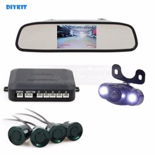 DIYKIT four Sensors four.three Inch Rear View Automotive Mirror Monitor + Video Parking Radar + LED Automotive Digicam Parking Help System Package