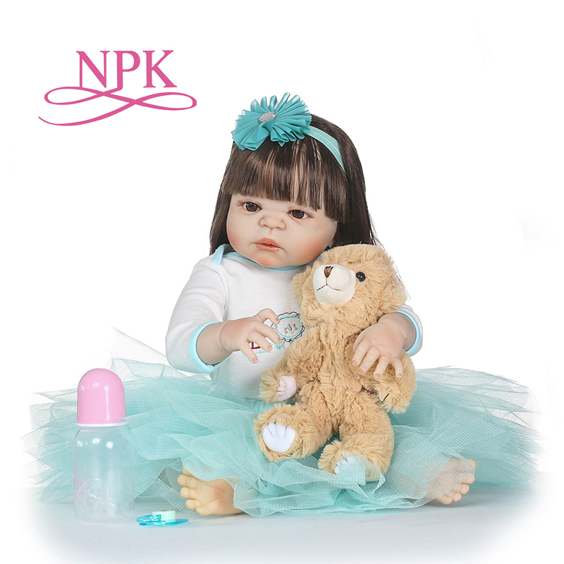 NPK full Silicone body reborn Baby Doll Girl Newbron Lifelike Baby-Reborn Princess Doll hot Birthday Christmas Gift for girl 55cm full body silicone reborn baby doll toys lifelike baby reborn princess doll child birthday christmas gift girls brinquedos