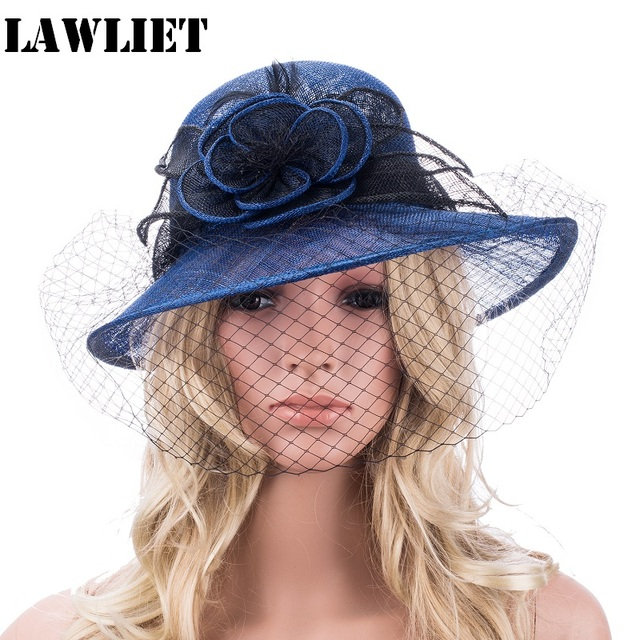 bbf9e4bc60f46 Retro Womens Sinamay Floral Veil Netting Cloche Church Hat Women Fascinator  Summer Hats T148