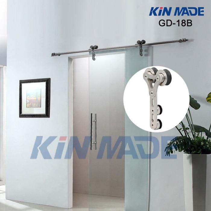 KIN FAIT Double rouleau porte coulissante en verre et en verre intérieur porte