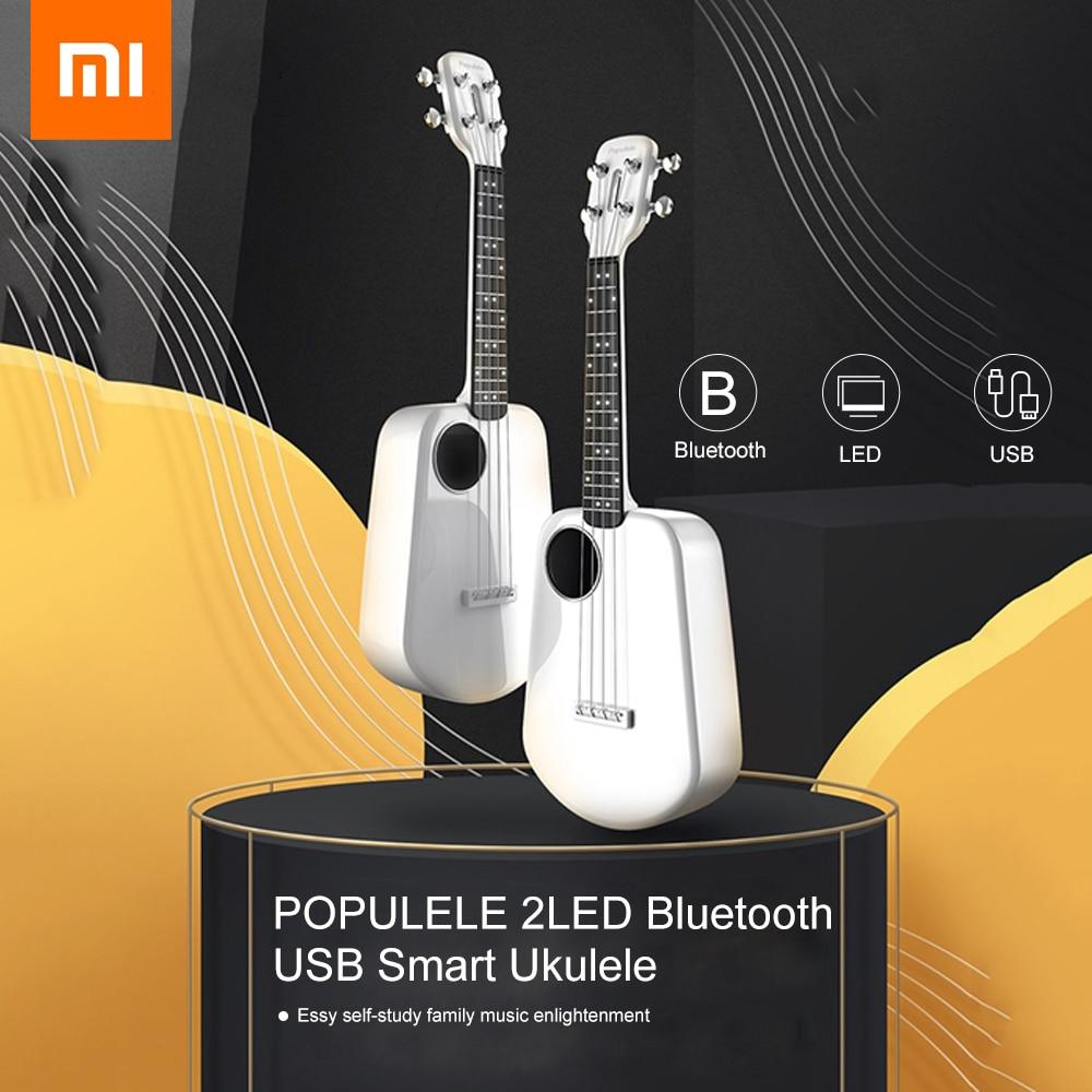 Xiaomi Youpin ukulélé Populele 2 LED Bluetooth USB intelligent ukulélé APP contrôle 18 dents bouton fermé jouet Instrument de musique cadeaux