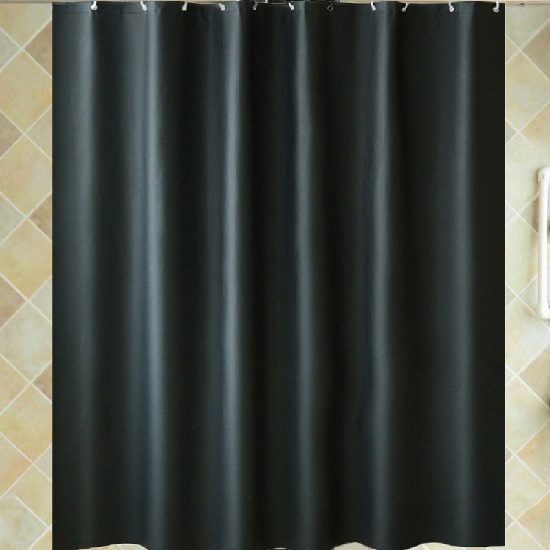 PVEA black shower curtain with plastic hooks modern solid waterproof mildewproof thick fabric curtains for the bathroom <font><b>180*200</b></font> image