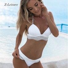 2018 New Lace Swimwear Women Sexy Bikini  Push Up Bathing Suit Black White Swimsuits BK1802