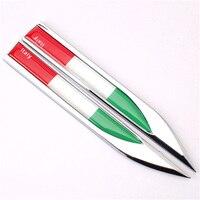 2Pcs Metal Italy Italian Flag Auto Car Side Fender Skirts Knife Type Badges Emblems Sticker