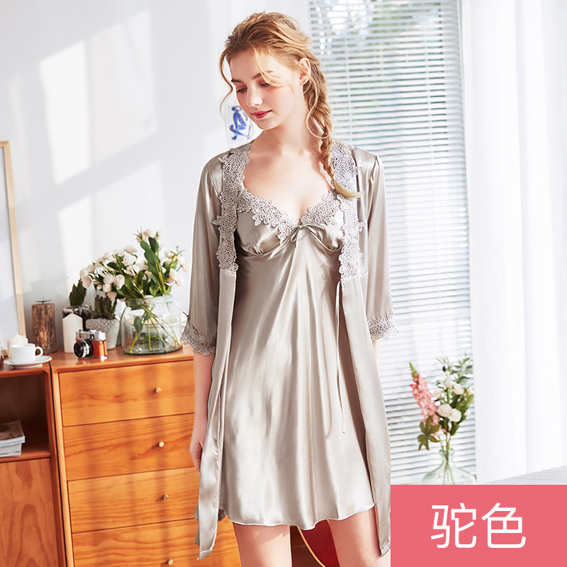 New Women Satin Silk Pajamas Nightwear Robes Nightgown Dress Sleepwear Homewea