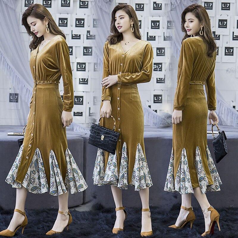 Sukienka wygodne i proste sukienki aksamitne 2019 wiosna nowy jednolity kolor z długim rękawem, dekolt w serek szyfonowa patchwork trąbka sukienka w Suknie od Odzież damska na  Grupa 3