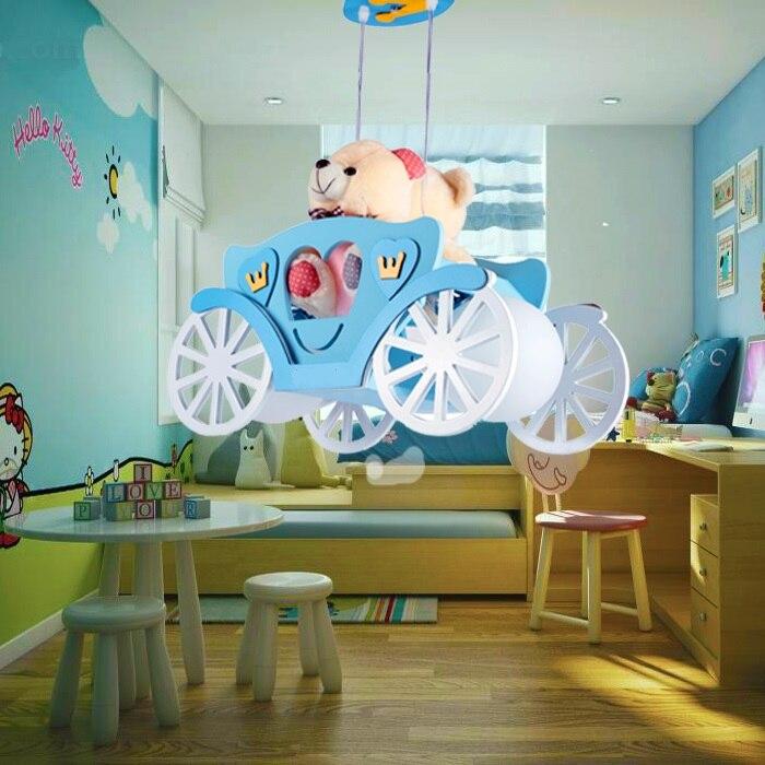 Moderne enfants chambre pendentif lumières garçon fille chambre maternelle ours voiture bois + verre abat-jour rose/bleu suspension lampes ET31