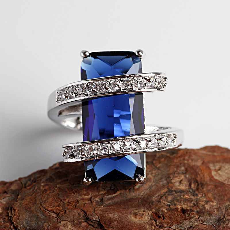 wholesale good shipping> >>>Fashion Jewelry sapphire 925 sterling silver ring size7 8 9