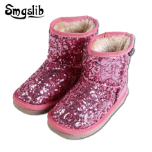 Winter Warm Boys Girls Snow Boots Shoes Sequin Children Snow Girls Fur Ankle Snow Boots Flat With Plush Child Kids Snow Boots aadct fashionable warm cotton fur girls boots new winter comfortable children boots for boys high quality kids snow boots brand