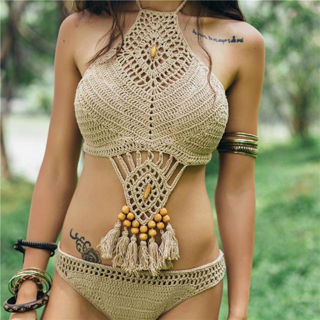 14b8a365833 Hot Women Plus Size White Khaki Bathing Suits Knitted Bikini Crochet Crop  Top Sexy tassel mid Waist hollow Out Crochet Swimwears