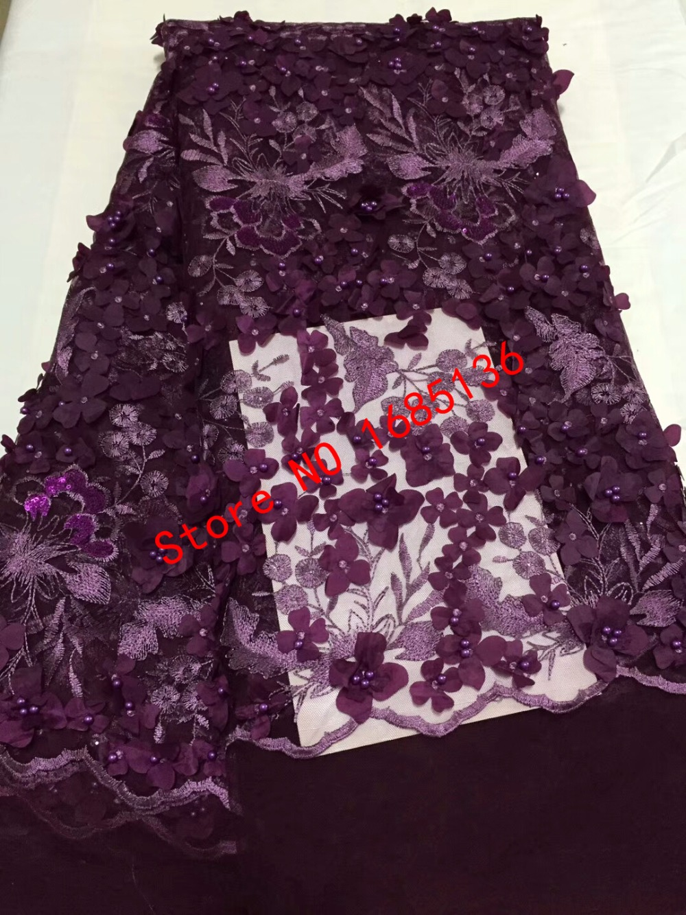 High-end Nigeria embroidery lace MYCD1688 purple plus 3D applique and Pearl African embroidery luxurious evening dress fabric High-end Nigeria embroidery lace MYCD1688 purple plus 3D applique and Pearl African embroidery luxurious evening dress fabric