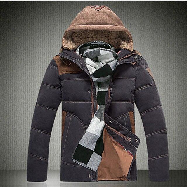 Pato Para Baixo Homens Jaqueta 2016 Inverno Homem Com Capuz Grosso Casaco Quente Outwear Casaco Amassado Parkas Moda Pluma Jaquetas Hombre Campera