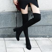 Эластичные облегающие сапоги выше колена из флока г. Женские зимние сапоги до бедра на шнуровке, женские высокие сапоги до бедра на не сужающемся книзу массивном каблуке, botas