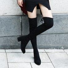 Женские эластичные сапоги выше колена, черные облегающие сапоги из флока на высоком каблуке, теплые длинные сапоги до бедра с мехом и плюшевой подкладкой, Осень зима 2020