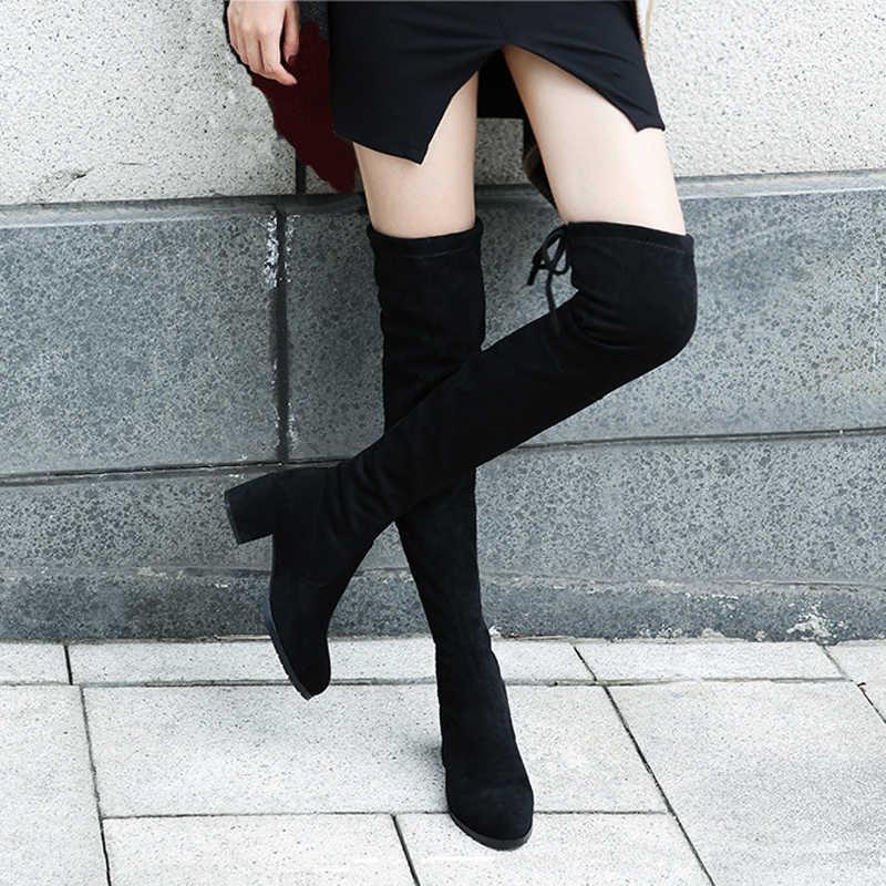 Élastique troupeau coupe mince sur le genou bottes femmes 2019 hiver cuisse à lacets dames talon haut talon épais longue cuisse haute botas