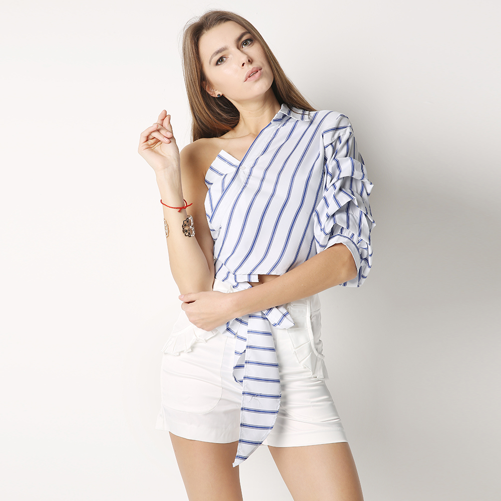 75da5f967ab89 HDY Haoduoyi Striped Women Blouses One Shoulder V neck Half Puff Sleeve  Casual Shirts Women Bow Ruffle Tie Waist Slim Tops-in Blouses   Shirts from  Women s ...