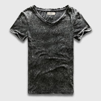 Fashion Black T Shirt Men Slim Fit V Neck T Shirts For Men Vintage Plain Solid