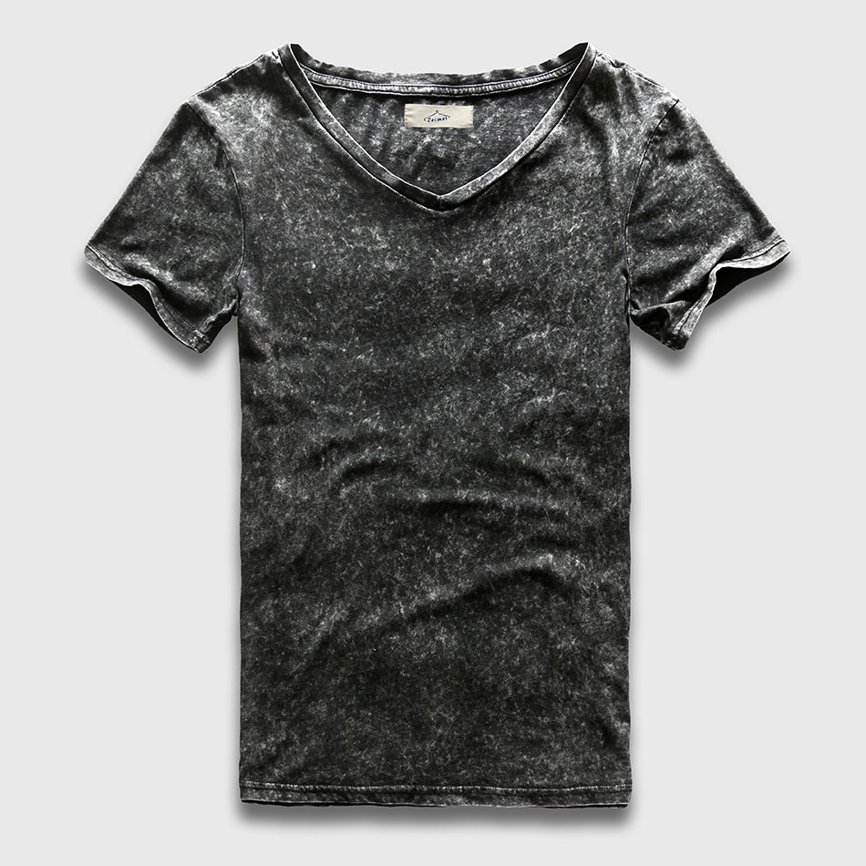 Zecmos Vintage Black   T  -  Shirt   Men China Size Fashion Heavy Washed   T     Shirts   For Men Slim Fit V Neck Top Tees Male Short Sleeve