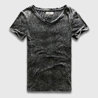 Fashion Black T Shirt Men Slim Fit V Neck T Shirts For Men Vintage Plain Solid