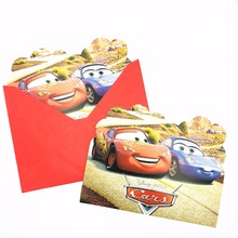 6pcs/set Cartoon  Lightning Mcqueen Invitation Card Birthday Party Supplies Decoration Kid Children