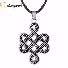 CHENGXUN Punk Gothic Men Necklace Infinity Knot Pendant Black Long Chain Viking Cross Valknut Amulet In Rune Jewelry(China)