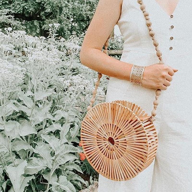 Bamboo Bag Round Wooden Handbag Woven Hollow Out Bohemina Luxury Handbags