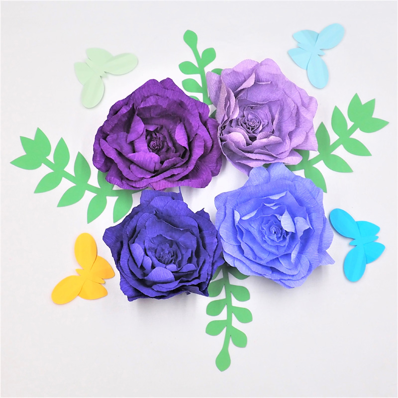 4PCS Assorted Crepe Paper Flower With 4PCS Leaves 4PCS Butterflies Wedding Backdrop Baby Nursery Girls Floral Nursery Decor