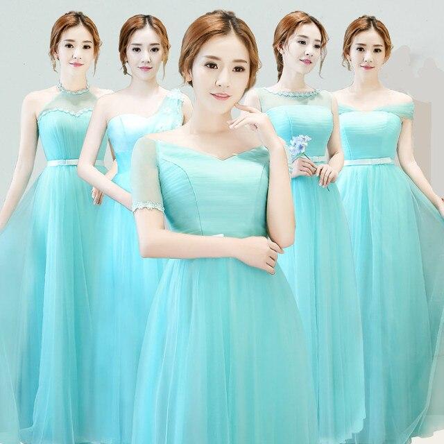 Ice Blue Bridesmaid Dresses Lantai Panjang Lengan Pendek Sexy Perahu leher  Murah Bridesmaid Gown Bawah 50 901fa54816fc