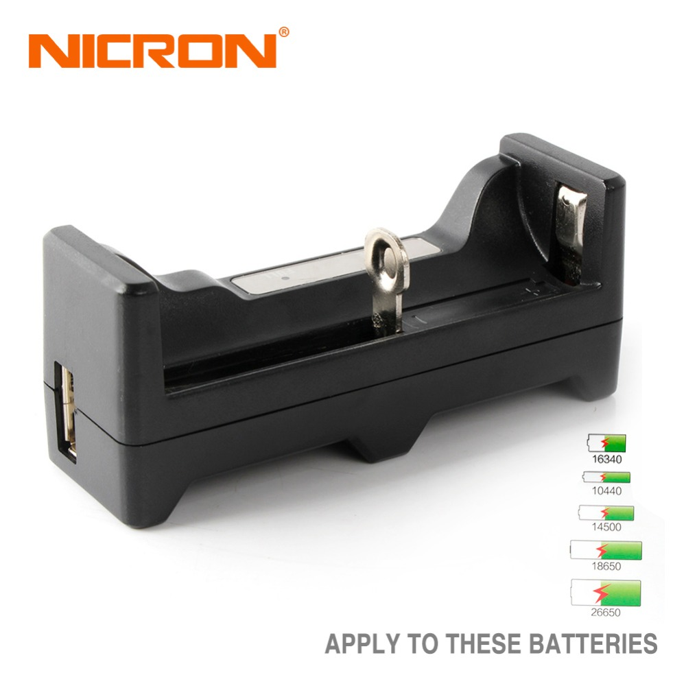 NICRON USB Li-ion Battery Universal Charger 5V 1A Apply To 16340,10440,14500,18650,26650 Support Charge Protect Power Bank