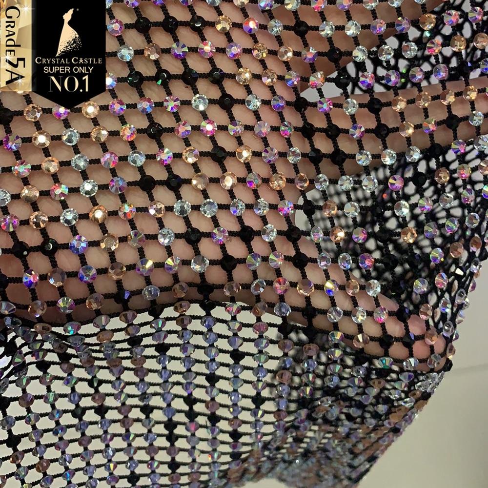 Crystal Castle Sparkle Rhinestones Fabric Garment Crystal Net Stones Strass Mesh Scarf Rhinestones For Clothes