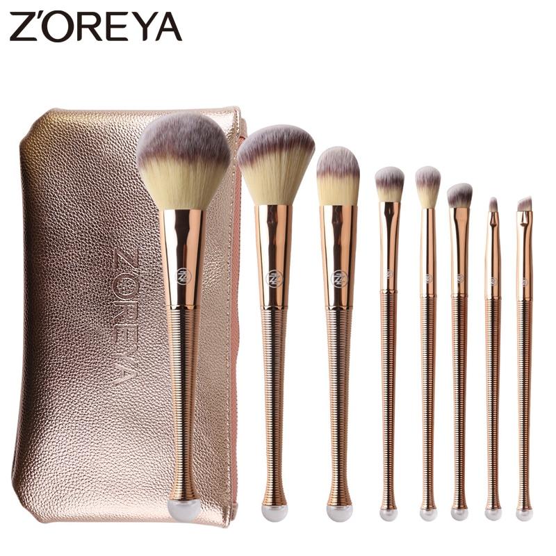 Zoreya Brand 8Pcs Rose Gold Makeup Brushes Mermaid Synthetic Hair Cosmetic Set Concealer Powder Blending Eye Shadow Makeup Tools