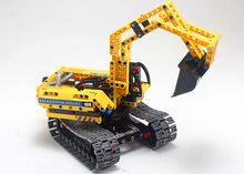 2016 new  342pcs legoe set Yellow Excavator Building Blocks Educational DIY Legoe Construction Kids Gift Bricks