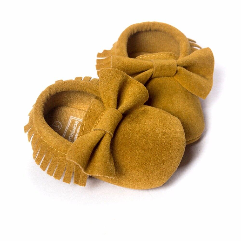 Mostaza Amarilla Del Bebé Del Arco Del Zapato de Flecos De Gamuza Zapatos de Beb