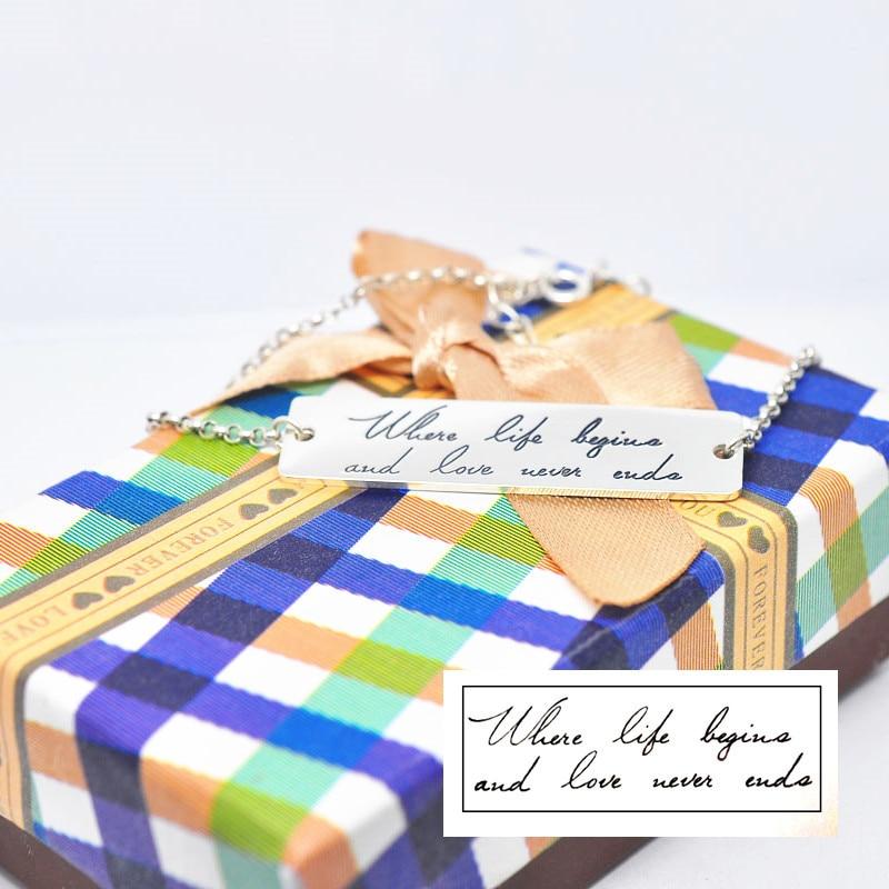Твердый Серебряный почерк браслет с гравировкой персонализированные именная печать тег мемориальные украшения pulseira