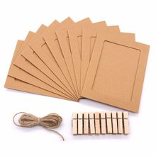 5inch Kraft Paper Photo Frame Wall Hanging Photo Paper Frame DIY Album Craft Home Decoration with Look for Memory From The Photo(China)